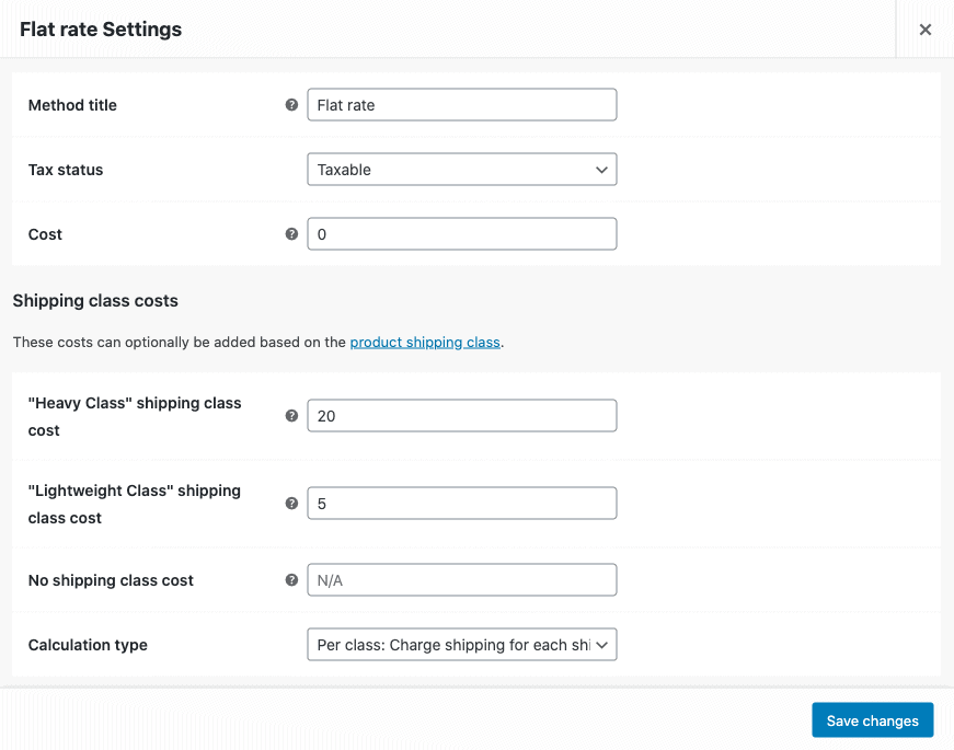 flat rate settings screenshot