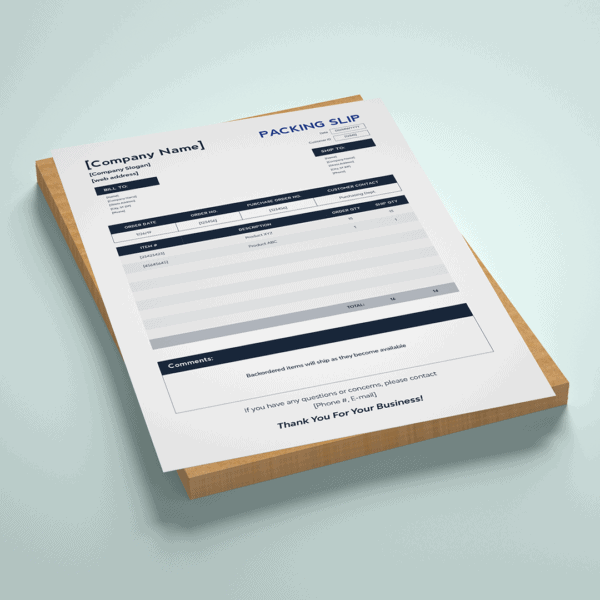 packing slip template preview