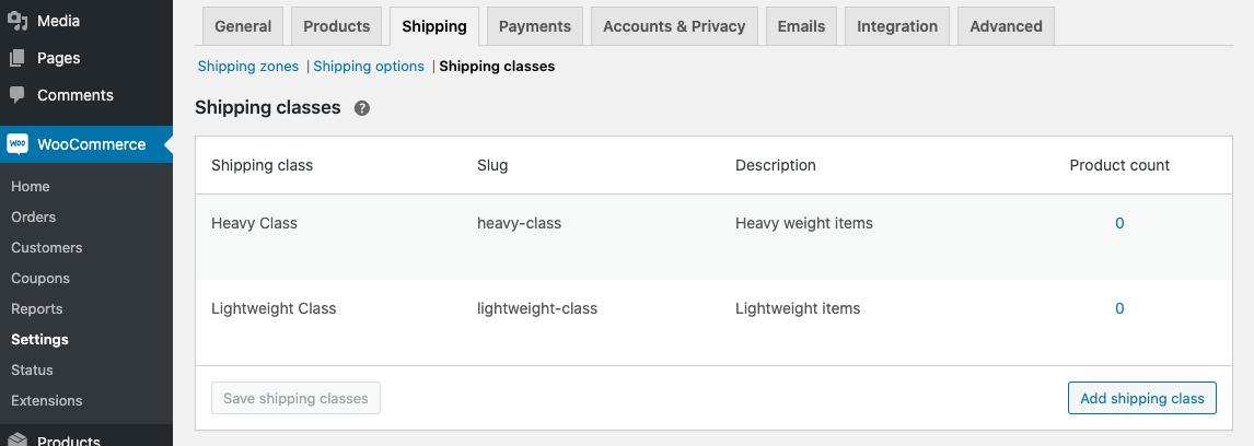 shipping classes screenshot 2